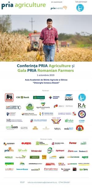 Fermierii români vor fi prezenți la PRIA Agriculture&Gala Fermierilor din România în 1 octombrie 2019 la București